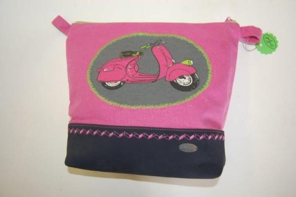 Kosmetiktasche rosa, rosa Roller mit Leder