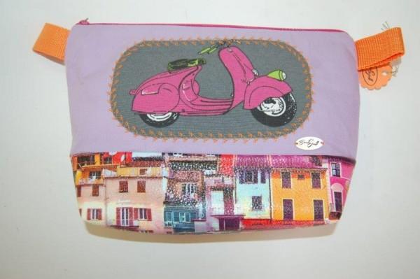 Kosmetiktasche flieder, rosa Roller mit Kunstleder
